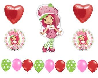 FAST SHIP Strawberry Shortcake Birthday Balloons Deluxe, Strawberry Shortcake Party Balloons, Strawberry Shortcake Birthday Party Supplies