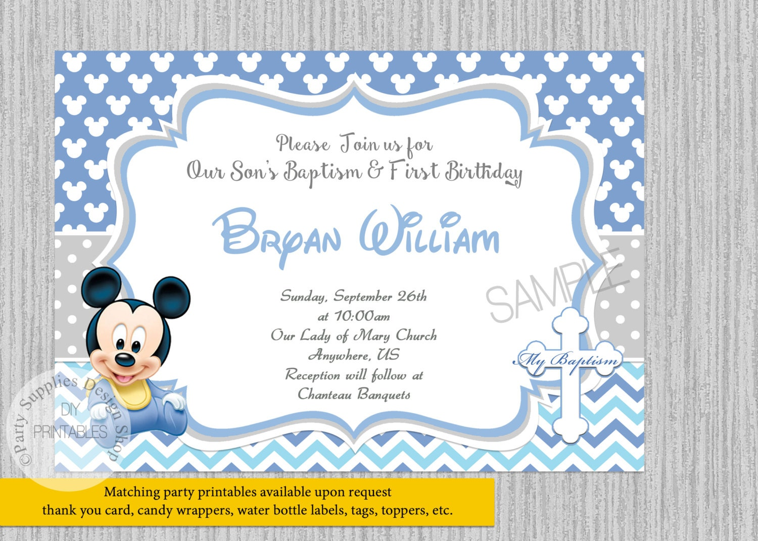 PRINTED or Digital Baby Mickey Mouse 1st Birthday Invitations
