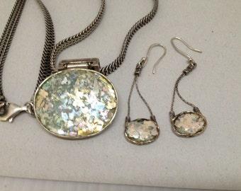 Roman Glass Sterling Silver Demi Parure