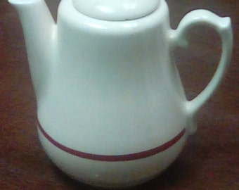 Vintage White And Red Teapot