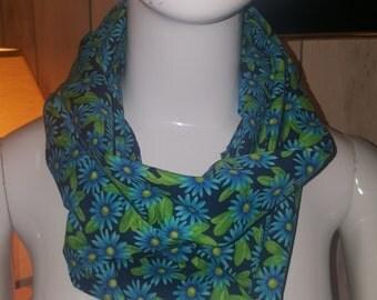 Floral scarf blue scarf green scarf cotton scarf Infiniti scarf fun scarf colorful scarf Spring scarf summer scarf accessories gift idea