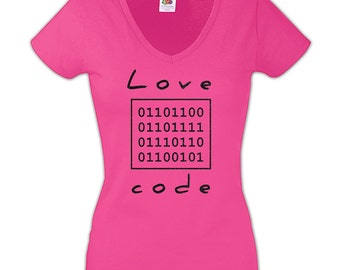 Love Code Fuchsia Women T-shirt with Black Glitter