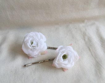 White Rosebud Bobby-pins