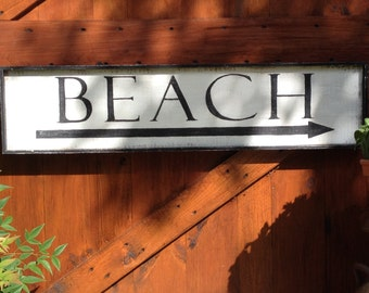 Country Vintage Inspired Hand Painted BEACH Rustic Wood Framed Sign