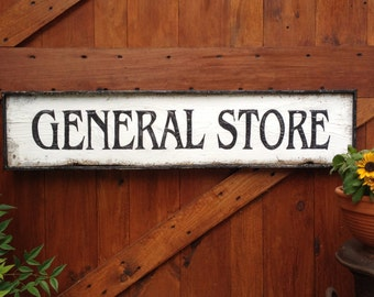 GENERAL STORE Wood Sign Vintage Farmhouse Style Hand Painted Framed LARGE 3'