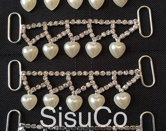 Pearl and Rhinestone Heart Connectors