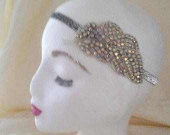 Silver 1920s Crystal Elastic Head Band