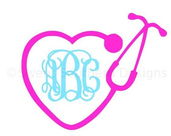 Monogram nurse heart stethoscope SVG instant download design for cricut or silhouette