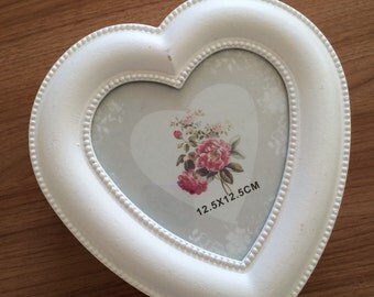 Wooden heart shaped photo frame container