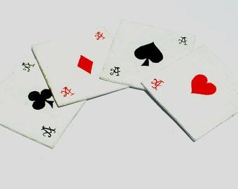 Ace Of Spades, Poker Coasters, Poker Symbols, Beer Coasters, Set Of 4 Coasters, Handpainted Coasters,DIY Wooden Coasters, Poker Symbols Logo