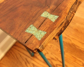 Black Walnut Live Edge Stool with Turquoise Inlays - SOLD
