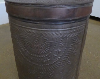 Extremely Rare Antique Pierced Tin Container