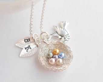 6 Eggs Bird's Nest Necklace, Family Necklace Silver, Baby Shower Necklace, 6 Kids Necklace, Pregnancy Loss Necklace, Miscarriage Necklace