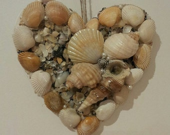 Seashell Heart Wall Decor, Wall hanging, wall Art