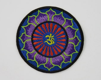 Om & Colourful Lotus Pattern Iron On/ Sew On Embroidered Cloth Patch Badge Appliqué aum ohm UK seller Size: 7.8cm