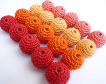 Red Crochet beads 20 PC/ Red orange beads/ Baby teething beads/ ECO-friendly beads/ Beading supplies/ Wooden crochet beads/ Dummy clip beads