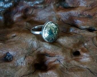 Pyrite silver handmade ring-Sugati 173