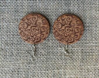 Swirl Wooden Earrings
