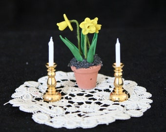 Two Brass Candle Sticks with Candles, Miniature