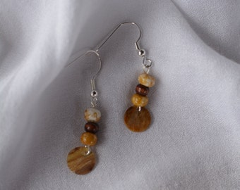 Natural shell and wooden bead dangle earrings
