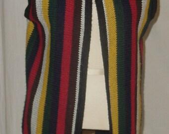 70's Vintage Vest hippie boho fringe bold colors groovy MOD