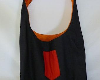 Denim Shoulder/Hobo Bag, Fully Reversible