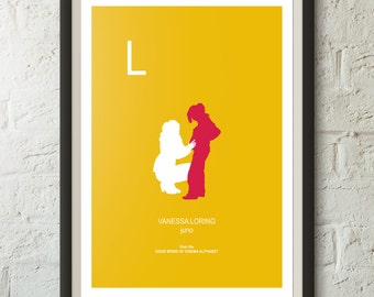 L is for VANESSA LORIN from Juno, Good Mom of Cinema Poster, Initials, Alphabet print, Minimalist Poster, various sizes, wall art, adoption
