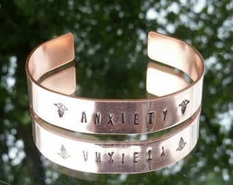 Copper hand Stamped medical alert cuff bracelet , can be made to your requirements with any wording