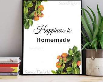 printable kitchen art, kitchen wall decor, happiness wall art, happiness is homemade, instant download, food wall art, printable food art