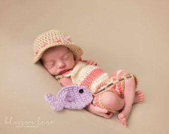 Newborn Fisherman Outfit, Baby Girl Photo Prop, Newborn Girl Fishing