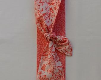 Liberty Print Headband Narrow Scarf Coral Pink