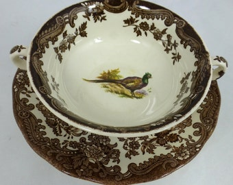 Royal Worcester Vintage Palissy Games Series Soup Bowl and Plate