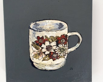 Retro Floral Coffee Cup Painting and Vintage Floral Coffee Cup