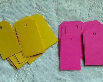 Pack of 40 Blank Gift Tags | Hot Pink & Yellow Gift Tags | Handmade Tags
