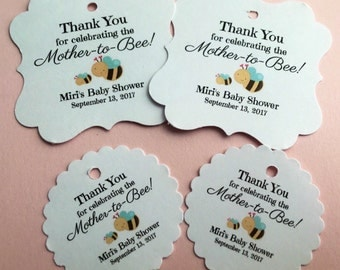 Baby shower favor tags, bumble bee theme, thank you tags
