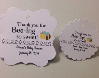 Thank you favor tags, bee themed, birthday party