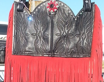 Western boot top and fringe purse