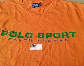 Vintage polo sport ralph lauren shirt spellout Orange M size