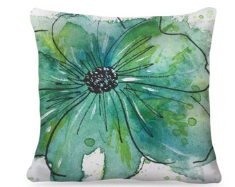 "Designer Watercolor Pillow ""Lou"" Home Decor"