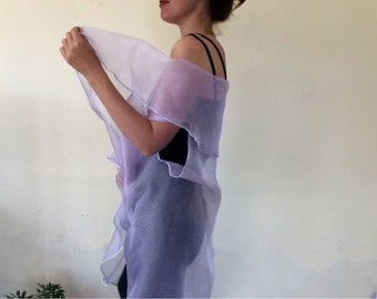 Lavender Icing Organza Shawl Wrap--Wedding--Bridal--Mother of the Bride--Bride
