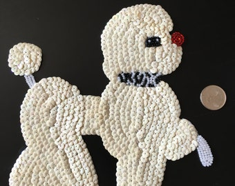 Vintage Large Sequin and Beaded Poodle Applique