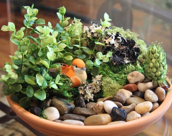 Bird Terrarium | Terracotta Terrarium | Faux Flower Arrangement | Silk Flower Arrangement | Fake Flower Arrangement