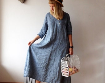 Linen Maxi Dress with Long Sleeves, Blue dress, Linen Dress, Plus size dress, Tunic Dress Trapeze, Plus size Maxi Linen Dress, Long linen