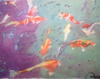 Rain on Koi Pond (framed watercolor)