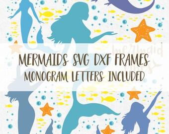 Mermaids Svg Monogram Frames Svg Svg Monogram Frame Svg Monogram files for silhouette svg files for cricut svg svg bundle vinyl design svg