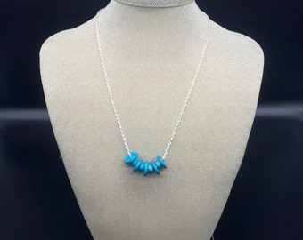 Silver necklace with Turquoise Mykonos ceramic beads