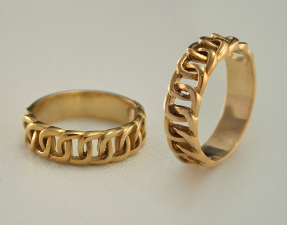 Chain Wedding Bands Modern Wedding Rings Gold By WeddingRingsStore