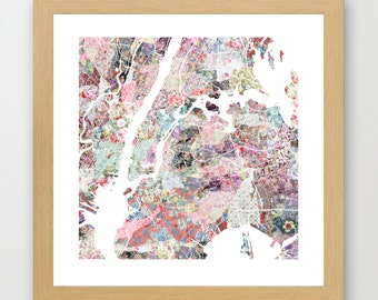 New York map   New York Painting   New York Art Print   New York Poster   NY map   Flowers compositions