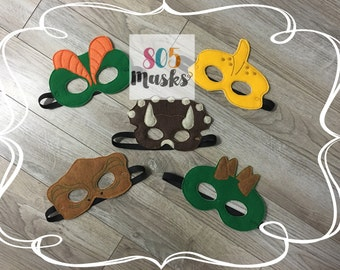 Dinosaur Animal Masks, Kids Masks, Kids Costumes, T Rex Mask, Steogosaurus Mask, Triceratops Mask, Diloposaurus Mask, Pterodactyl Mask