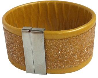 "Leather wristband ""yellow rain"""